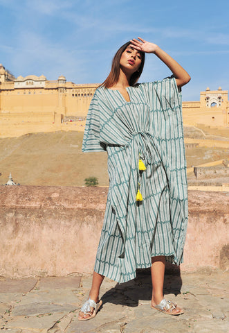 Amisha Long Kaftan | Aiko Sagebrush