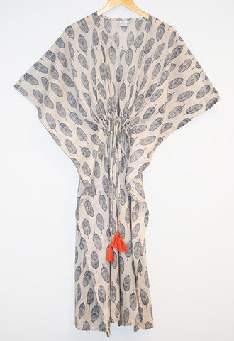 Amisha Long Kaftan | Feathers Indigo
