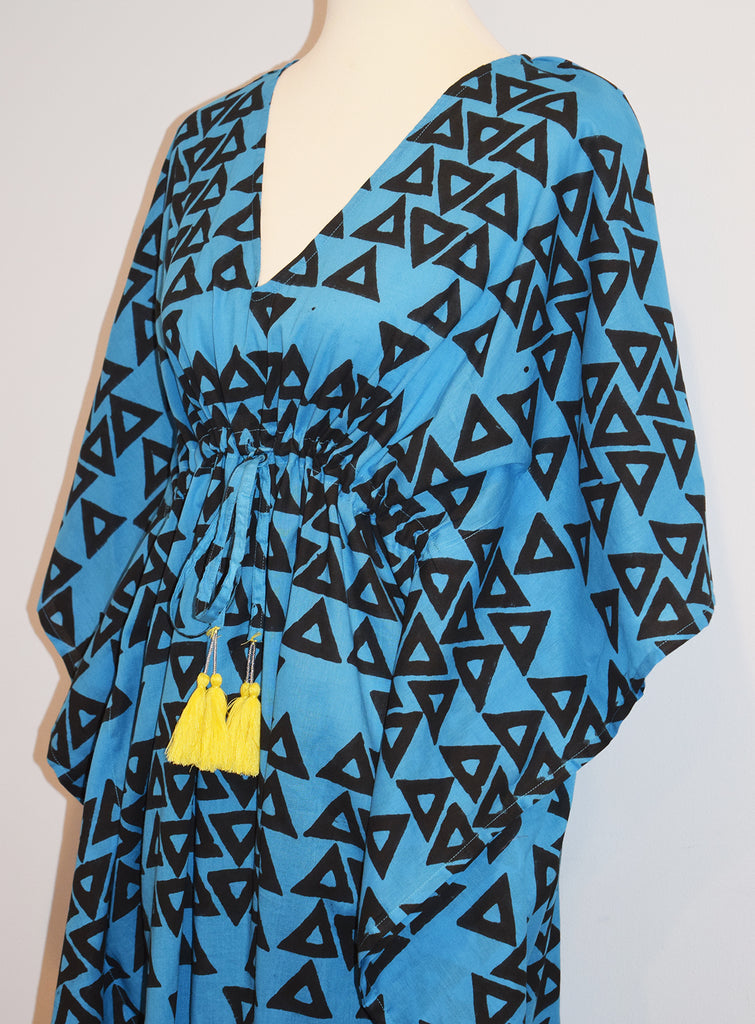 Amisha Short Kaftan | Triangles Azure