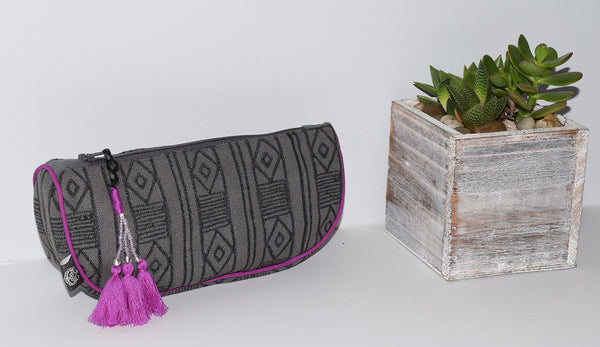 Small Canvas Cosmetic Bag | Mud Stripe Gray