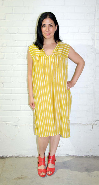 Aja Dress | Shree Stripe Mustard