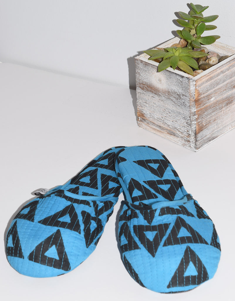 House Slippers | Triangles Azure