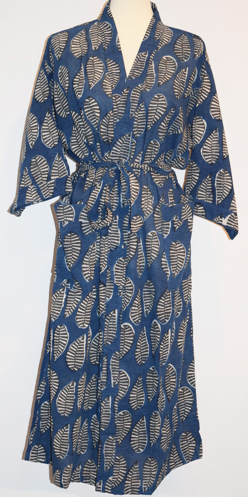 Kerala Long Robe | Kusu Leaf Indigo