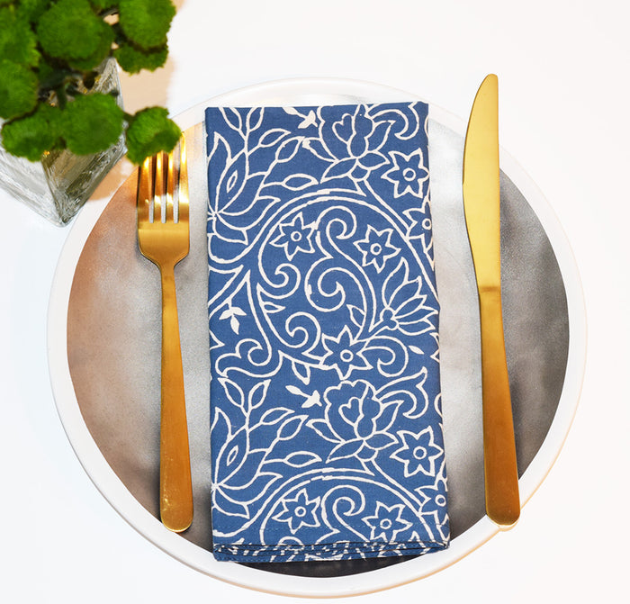 Set of 4 Napkins | Sketch Floral Periwinkle