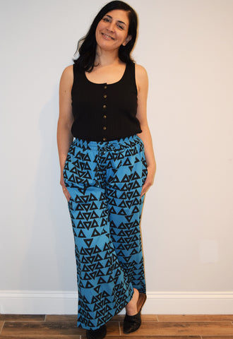 Wide Leg Pant | Triangles Azure