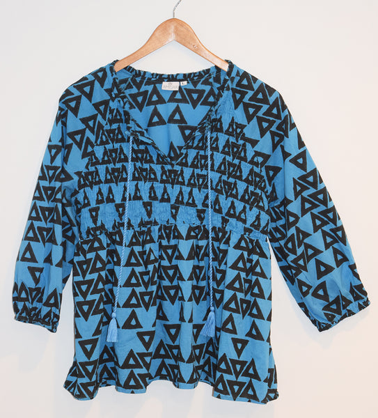 Tulum Top | Triangles Azure