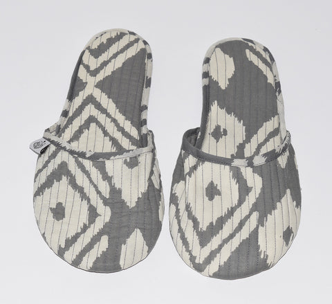 House Slippers | Kuta Ikat Gray