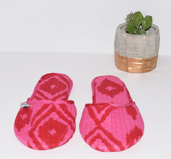 House Slippers | Kuta Ikat Berry
