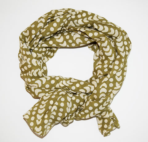 Cotton Voile Scarf | Crescent Dot Olive