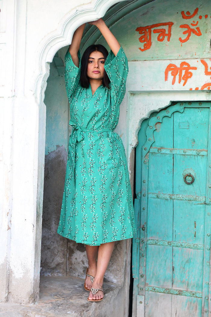 Kerala Long Robe | Cherry Blossoms Green