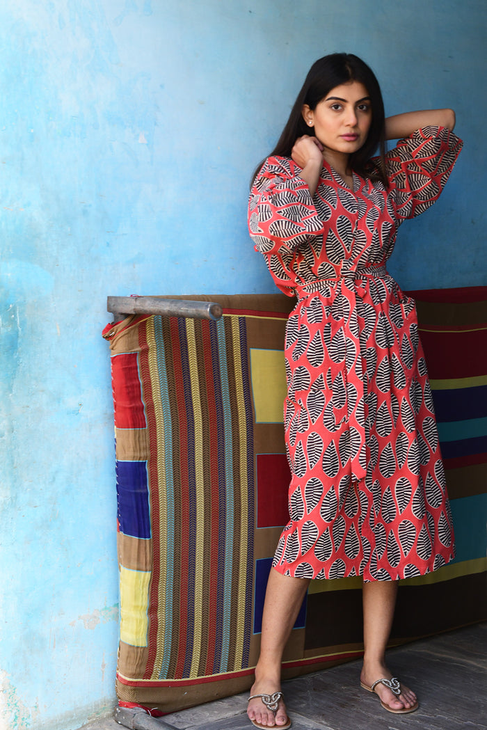 Kerala Long Robe | Kusu Leaf Red
