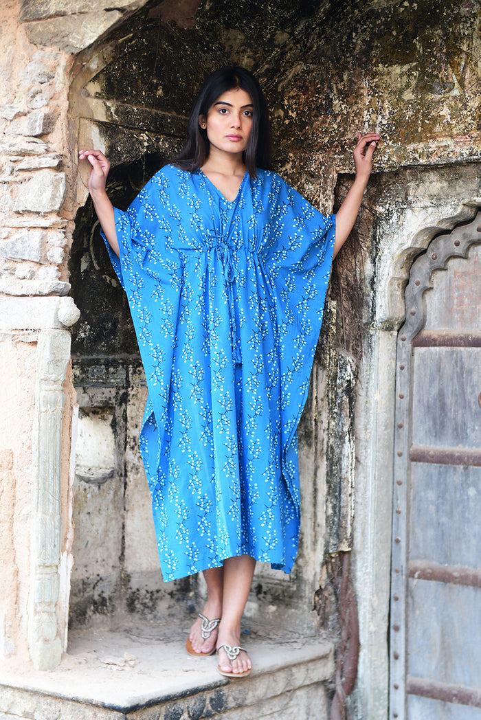 Amisha Long Kaftan | Cherry Blossoms Ocean