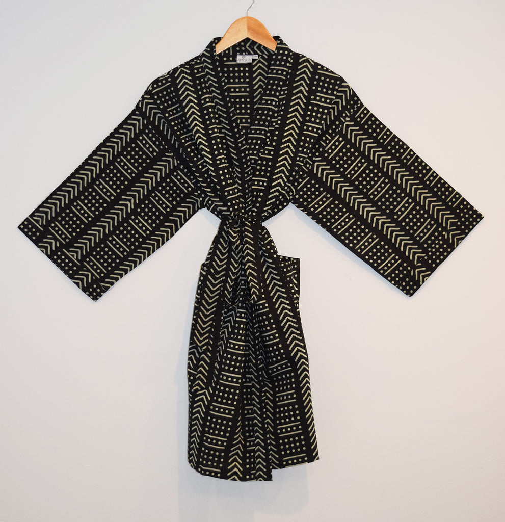 Kerala Short Robe | Terra Black