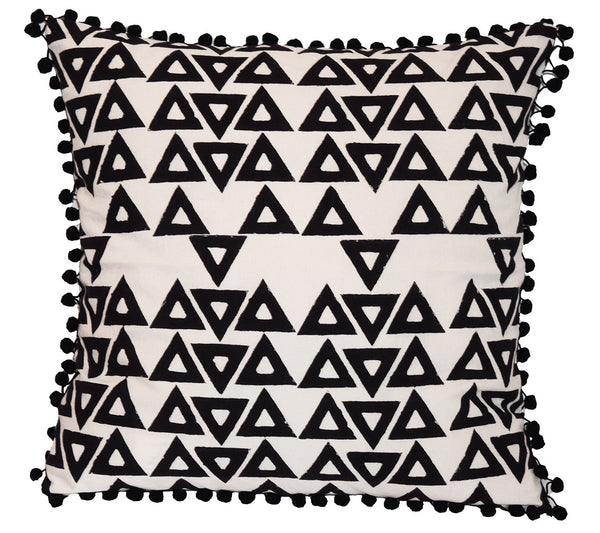 Cotton Throw Pillow | Anushka Egret + Black