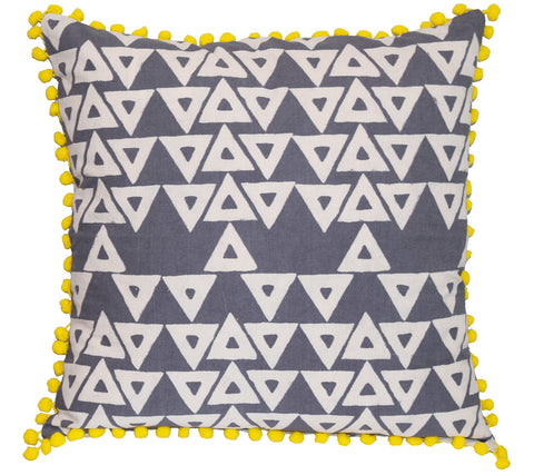 Cotton Throw Pillow | Anushka Gray + White