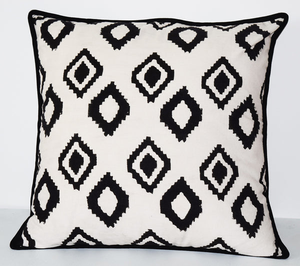 Cotton Throw Pillow | Bali White + Black