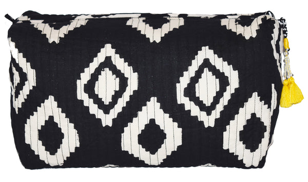 Large Cotton Toiletry Bag | Bali Black + White