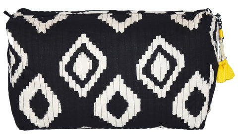 Bali Large Quilted Cosmetic Bag | Black + White