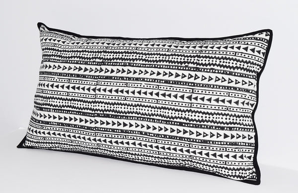 Cotton Lumbar Pillow | Shela Black + White