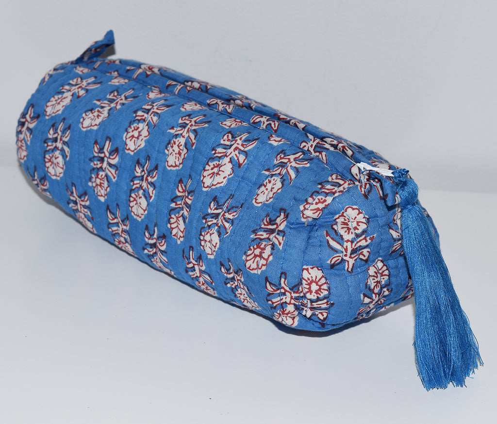 Long Waterproof Cosmetic Bag | Blue Floral