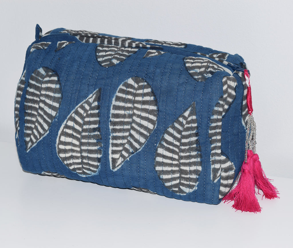 Medium Waterproof Toiletry Bag | Kusu Leaf Indigo