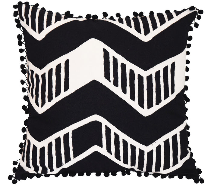 Cotton Throw Pillow | Chari Black