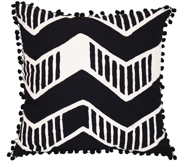 Cotton Throw Pillow | Chari Black + White