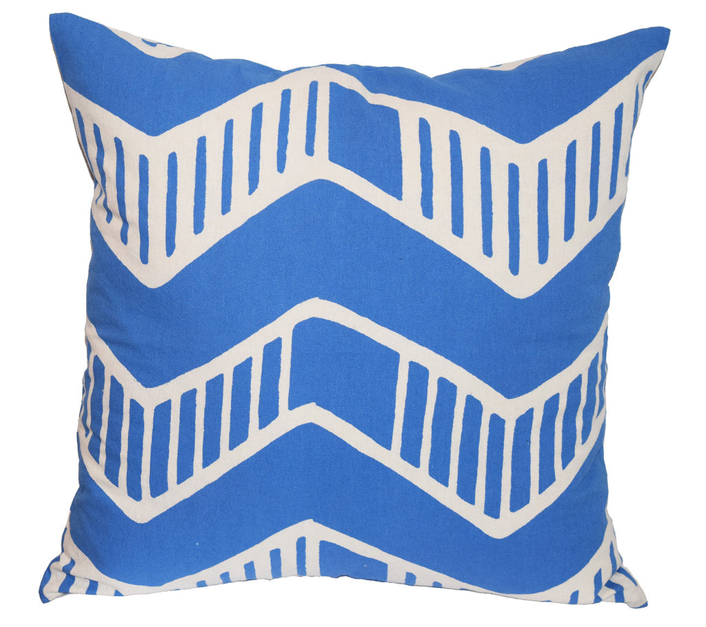 Cotton Throw Pillow | Chari Blue + White