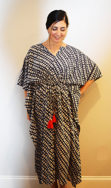 Amisha Long Kaftan | Crescent Dot Ink