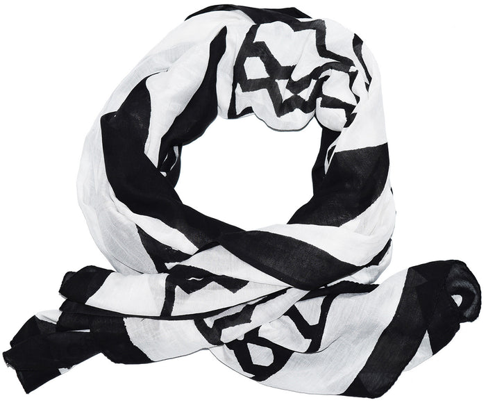 Cotton Silk Scarf | Triangles White