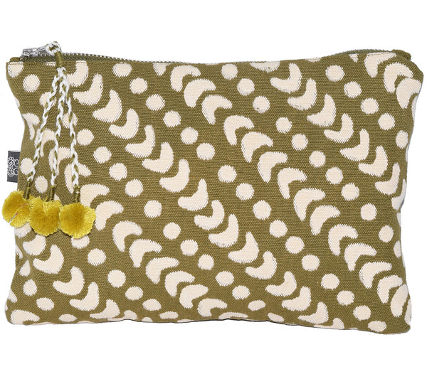 Large Canvas Zipper Pouch | Crescent Dot Olive