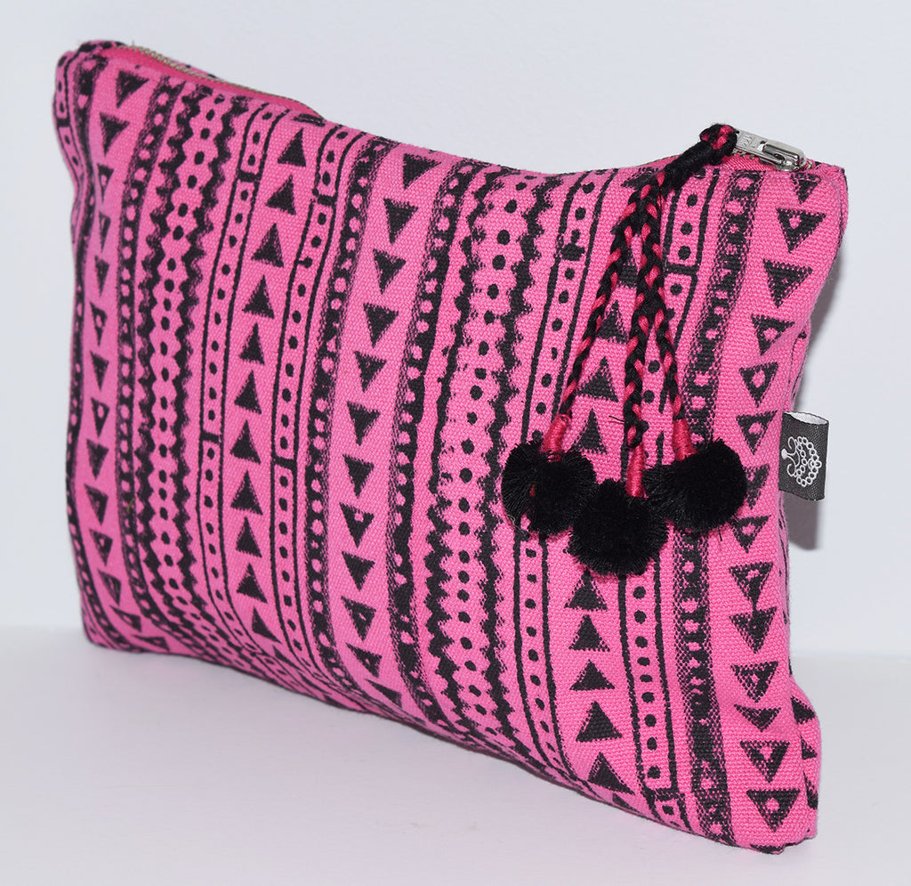 Large Canvas Zipper Pouch | Shela Fuchsia