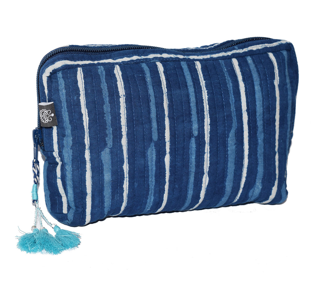 Medium Cotton Cosmetic Bag | Mina Indigo