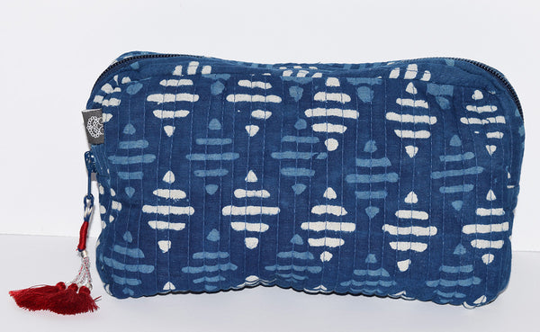 Medium Cotton Cosmetic Bag | Raya Indigo