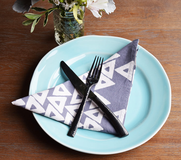 Set of 4 Napkins | Anushka Gray + White