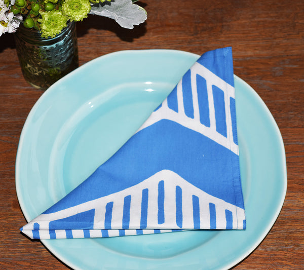 Set of 4 Napkins | Chari Blue + White
