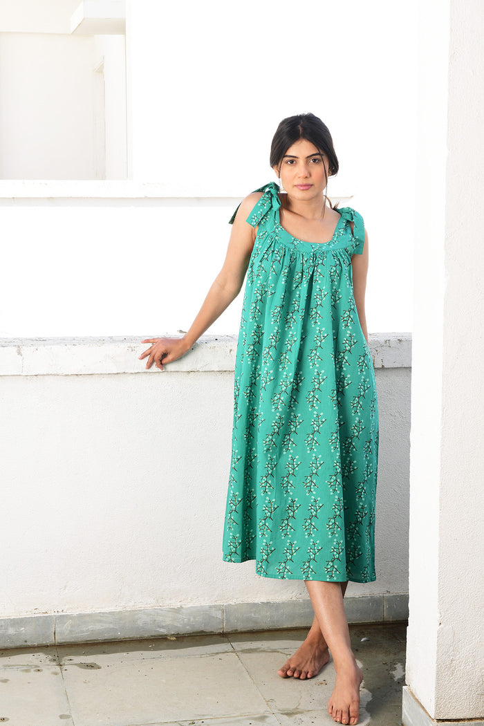 Maldives Dress | Cherry Blossoms Green