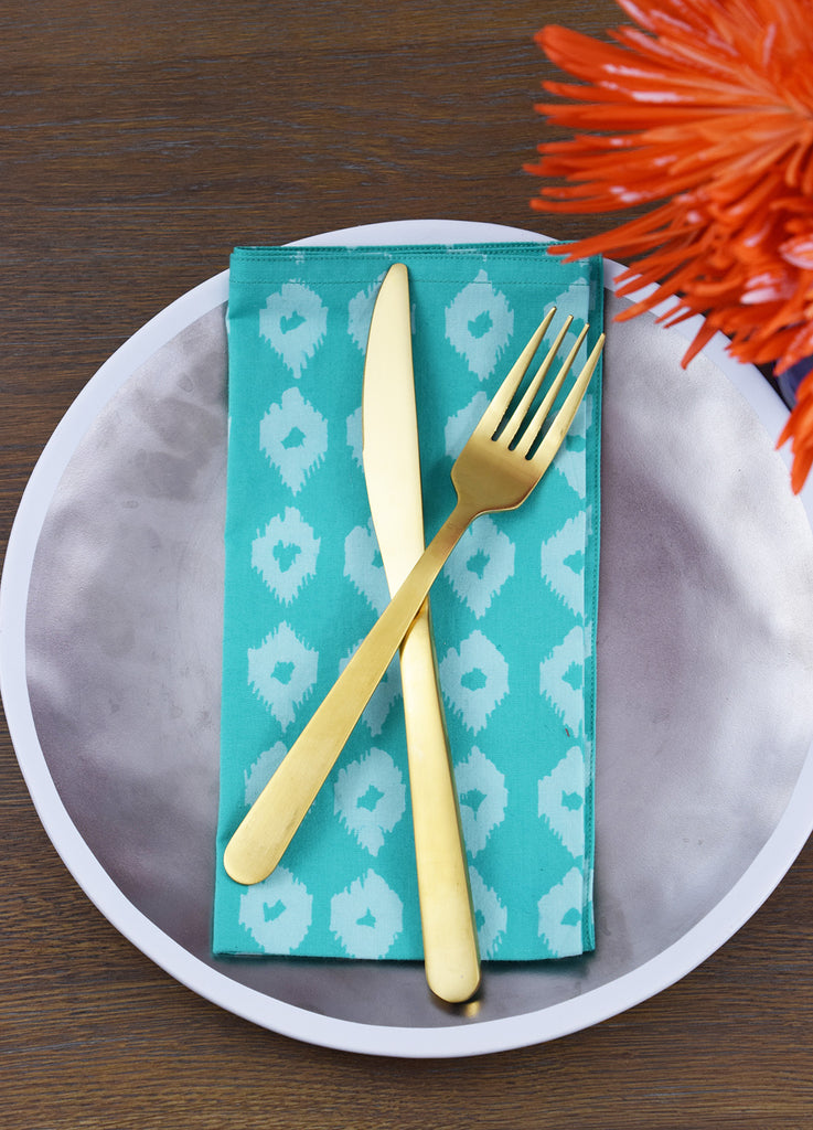 Set of 4 Napkins | Mini Ikat Teal