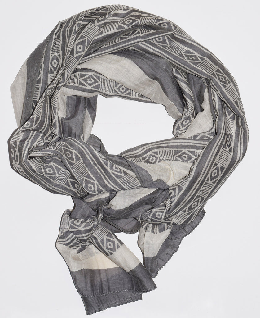 Cotton Silk Scarf | Mud Stripe Smoke