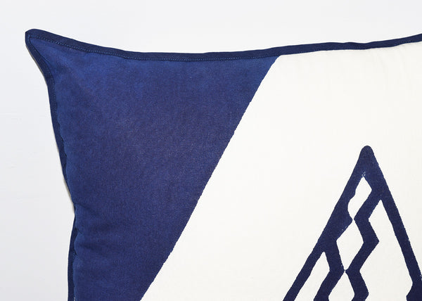 Cotton Throw Pillow | Triangles Indigo