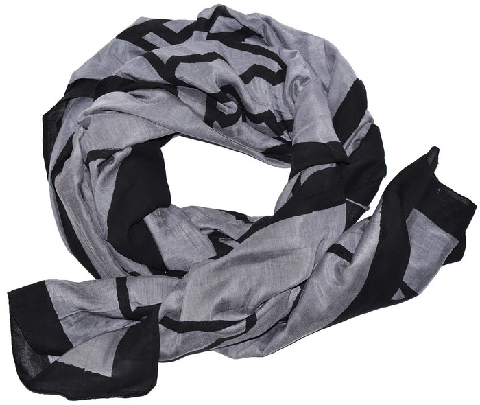 Cotton Silk Scarf | Triangles Gray