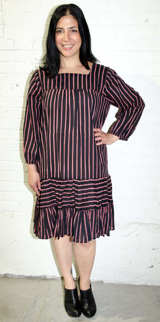 Carmen Dress | Shree Stripe Black/Clay