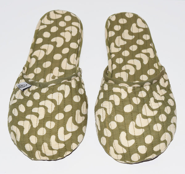 House Slippers | Crescent Dot Olive