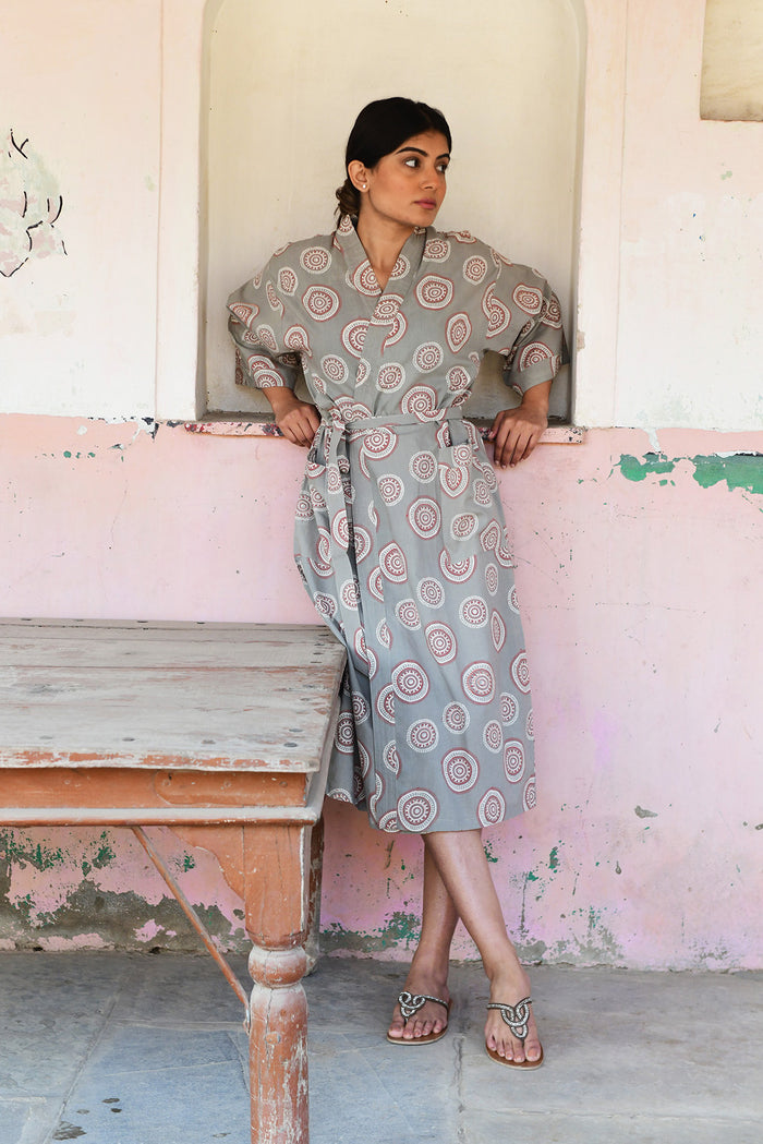 Kerala Long Robe | Mandala Gray