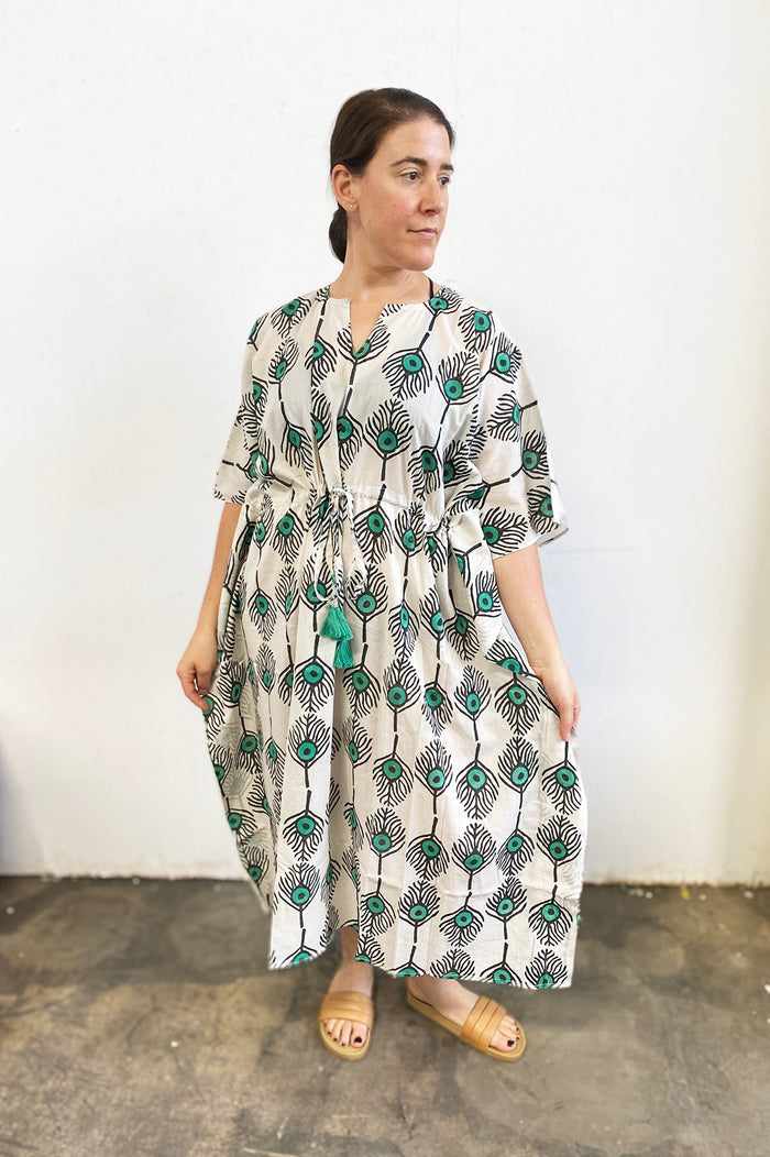 Amisha Long Kaftan | Plumes Sea