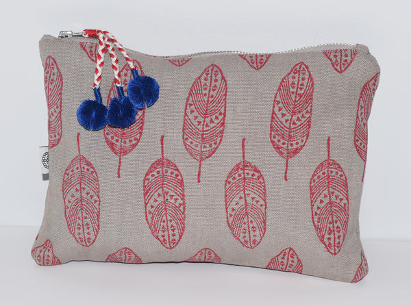 Large Canvas Zipper Pouch | Feathers Red