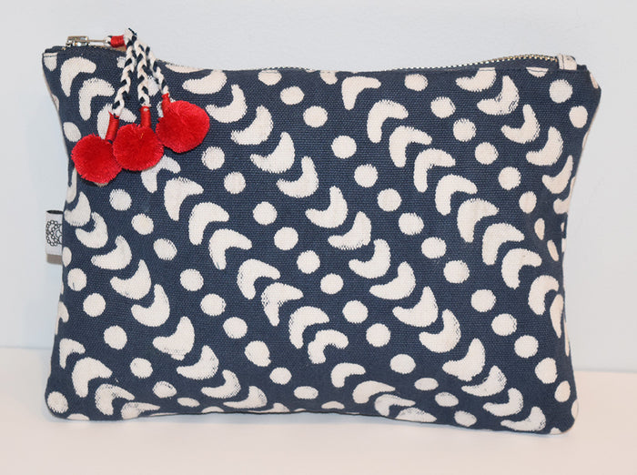 Large Canvas Zipper Pouch | Crescent Dot Ink