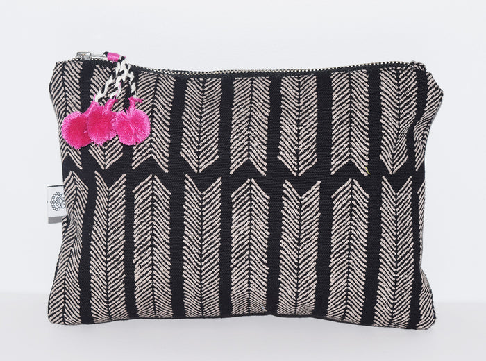 Large Canvas Zipper Pouch | Aiko Black