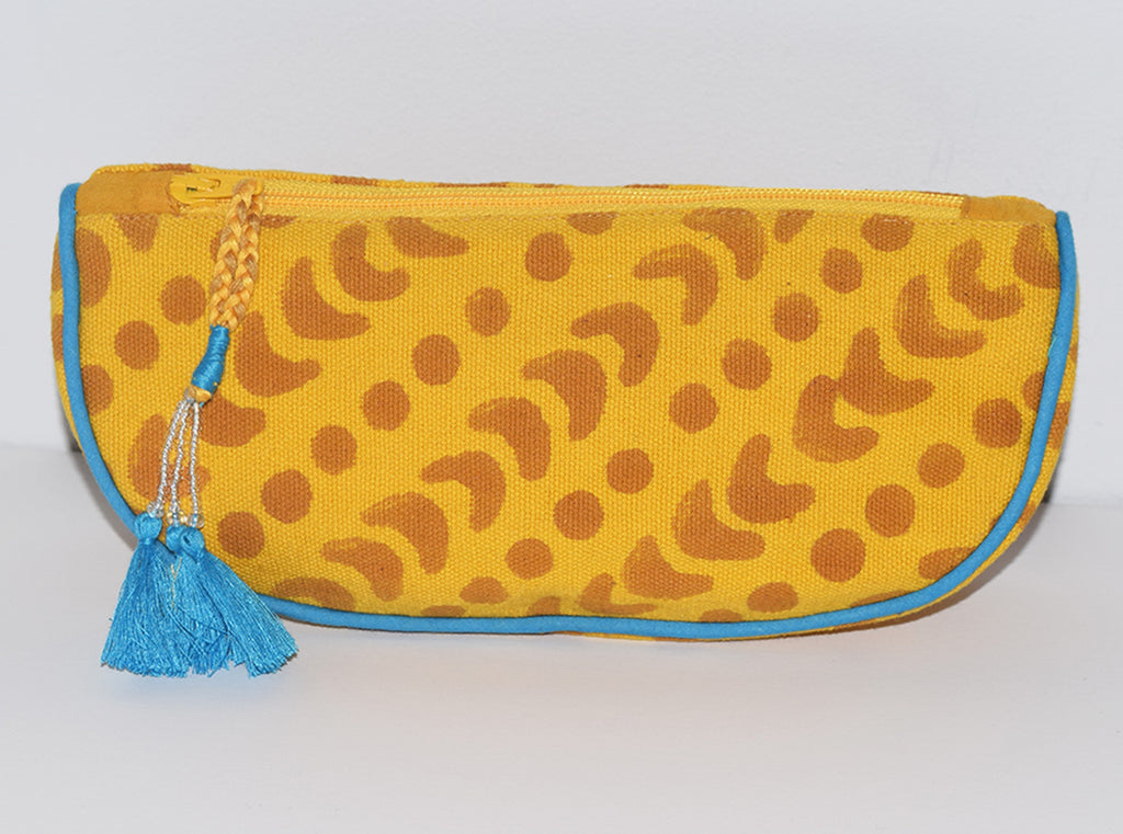 Canvas Cosmetic Pouch | Crescent Dot Yellow