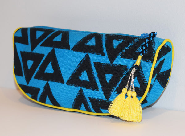 Canvas Cosmetic Pouch | Triangles Azure